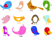 Cute birds set Stock Image
