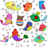 Cute birds set. Illustration of Cute birds. Cartoon set stock illustration