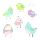 Cute birds set. Vector hand drawn isolated illustrations Stock Photography