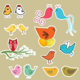 Cute birds set. Vintage  illustration Royalty Free Stock Photo