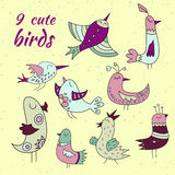 9 cute birds set. Yellow, green, pink and purple coloured vector illustration