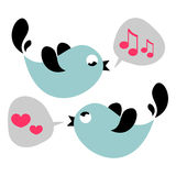 Cute birds singing Stock Photography