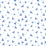 Cute birds, small flowers. Seamless pattern. Watercolor Stock Image