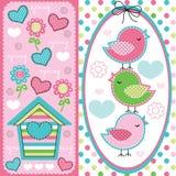 Cute birds with spring pattern illustration stock illustration