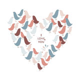 Cute birds. St. Valentine greeting card with I Love You text on it and heart made of cute birds Stock Photo
