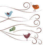 Cute birds on tree branches Stock Photography