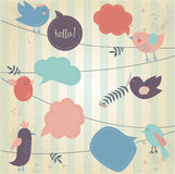 Cute birds tweeting. Retro styled background with tweeting cute birds Stock Photos