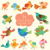 Cute birds in vector. Cartoon set Royalty Free Stock Photography