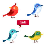 Cute birds in vector isolated on white background. Stock Photo
