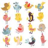 Cute birds vector set. Set of cute birds hand drawn vector happy drawing decoration. Cartoon collection with funny little cute bird family hand drawn. Vector Stock Photography