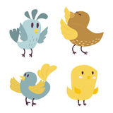Cute birds vector set illustration cartoon colorful. Set of cute birds hand drawn vector happy drawing decoration. Cartoon collection with funny little cute bird Royalty Free Stock Images
