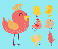 Cute birds vector set illustration cartoon colorful. Set of cute birds hand drawn vector happy drawing decoration. Cartoon collection with funny little cute bird Stock Illustration