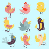 Cute birds vector set illustration cartoon colorful. Set of cute birds hand drawn vector happy drawing decoration. Cartoon collection with funny little cute bird Royalty Free Stock Photos