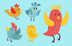 Cute birds vector set illustration cartoon colorful. Set of cute birds hand drawn vector happy drawing decoration. Cartoon collection with funny little cute bird Royalty Free Stock Photo