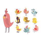 Cute birds vector set illustration cartoon colorful. Set of cute birds hand drawn vector happy drawing decoration. Cartoon collection with funny little cute bird Stock Photos