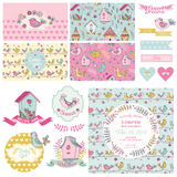 Cute Birt Party Set Royalty Free Stock Photo