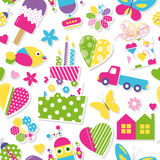 Cute birthday cake, hearts, flowers, toys and animals pattern Royalty Free Stock Photo