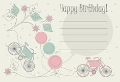 Cute Birthday card  with bicycles, balloons and flowers Royalty Free Stock Photos