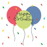 Cute birthday card with colorful balloon. And confetti Royalty Free Stock Photo