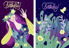 Cute birthday card in dark colors stock illustration