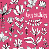 Cute birthday Card with flowers. Colorful vector Illustration. Royalty Free Stock Image