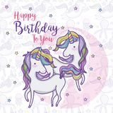 Happy birthday card for girls. Cute birthday card magic world concept vector illustration graphic design Royalty Free Stock Image