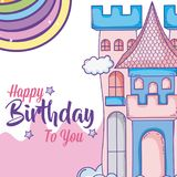 Happy birthday card for girls. Cute birthday card magic world concept vector illustration graphic design Royalty Free Stock Photography