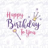 Happy birthday card for girls. Cute birthday card magic world concept vector illustration graphic design Stock Photos