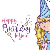 Happy birthday card for girls. Cute birthday card with princess cartoon vector illustration graphic design Stock Image