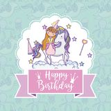 Happy birthday card for girls. Cute birthday card with princess and pony cartoon vector illustration graphic design Stock Image