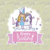 Happy birthday card for girls. Cute birthday card with princess and pony cartoon vector illustration graphic design Stock Photos