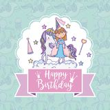 Happy birthday card for girls. Cute birthday card with princess and pony cartoon vector illustration graphic design Royalty Free Stock Photography