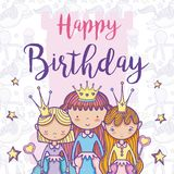 Happy birthday card for girls. Cute birthday card with princesses cartoon vector illustration graphic design Royalty Free Stock Photo