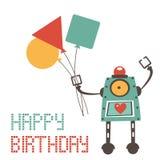 Cute birthday card with robot Stock Photos
