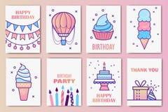 Cute birthday cards. Linear design. vector illustration.  vector illustration