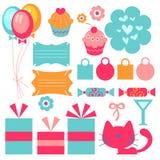 Cute birthday elements. A set of cute birthday elements vector illustration