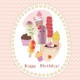 Cute birthday greeting card Stock Image