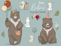 Cute birthday hares and bear collection Royalty Free Stock Photo