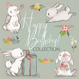 Cute birthday hares collection. Cute little birthday hares collection. vector illustration Stock Images