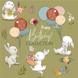 Cute birthday hares collection. Cute little birthday hares collection. vector illustration Royalty Free Stock Photo