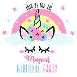 Cute Birthday invitation with unicorn. Closed eyes and flowers. Party invitation stock illustration