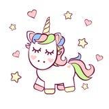 Cute Birthday invitation with unicorn royalty free illustration