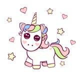 Cute Birthday invitation with unicorn stock illustration