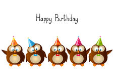 Cute Birthday owls Stock Image