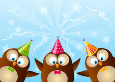 Cute Birthday owls Stock Images