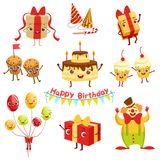 Cute Birthday Party Celebration Related Objects Characters Set. Cute Birthday Party Celebration Related Characters Set. Childish Cartoon Style Bright Color Royalty Free Stock Photo