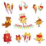 Cute Birthday Party Celebration Things Characters Set Royalty Free Stock Photography