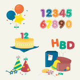 Cute Birthday party elements. Several stuff for Birthday party.vector illustration Stock Images