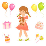 Cute birthday party illustrations for children Royalty Free Stock Photography