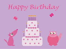 Cute birthday pets and cake vector illustration